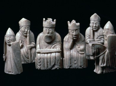 The Lewis Chessmen, (Norwegian?), c1150-c1200. A piece from a collection of ninety-three found at Uig on the Isle of Lewis, Outer Hebrides, Scotland. Taking the form of seated kings and queens, mitred bishops, knights on their mounts, standing warders and pawns in the shape of obelisks, most of them are made from Walrus ivory, and a few from whale teeth. From the British Museum's collection. (Photo by CM Dixon/Print Collector/Getty Images)